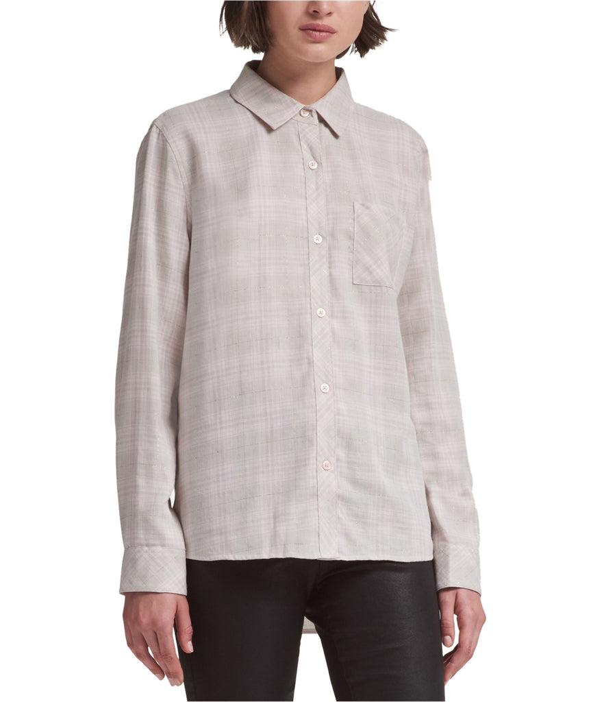 Yieldings Discount Clothing Store's Metallic Plaid Shirt by DKNY in Bold Bloom
