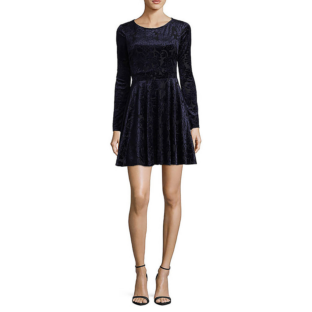Yieldings Discount Clothing Store's Juniors' Long Sleeve A-Line Dress by City Triangle in Navy