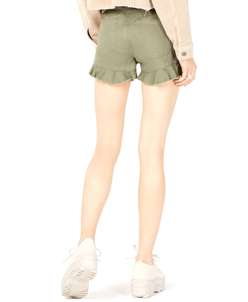 Yieldings Discount Clothing Store's Topson Ruffled Denim Shorts by TDC in Army Green