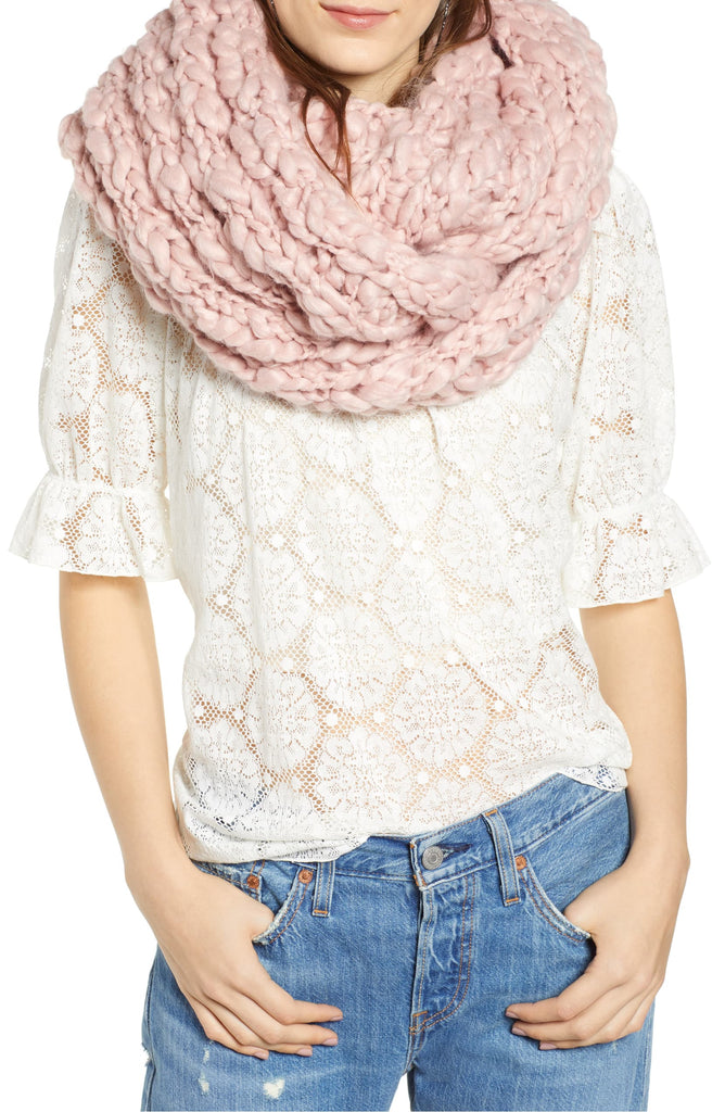 Yieldings Discount Accessories Store's Dreamland Chunky Knit Infinity Scarf by Free People in Pink