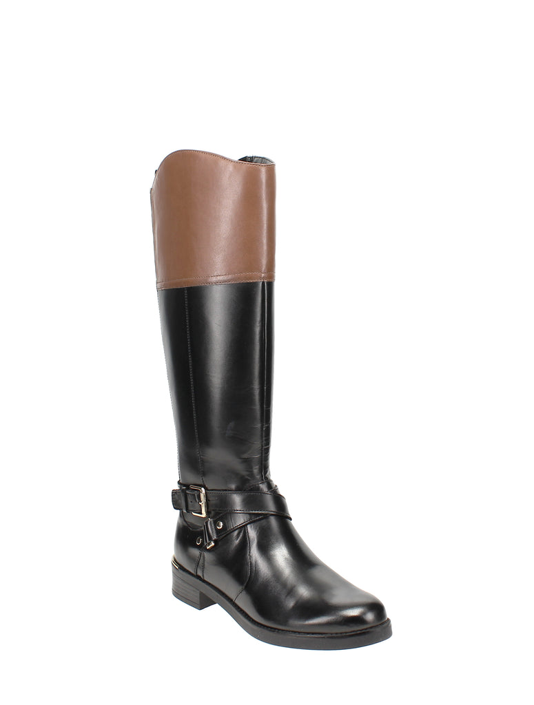 Yieldings Discount Shoes Store's Jimani Tall Riding Boots by Bandolino in Black Multi Leather
