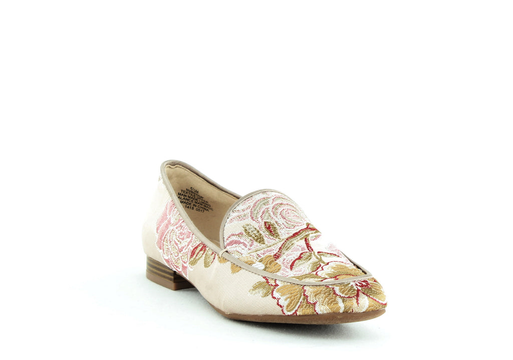 Yieldings Discount Shoes Store's Xena Closed Toe Slip On Loafers by Nine West in Floral Embroidered Beige