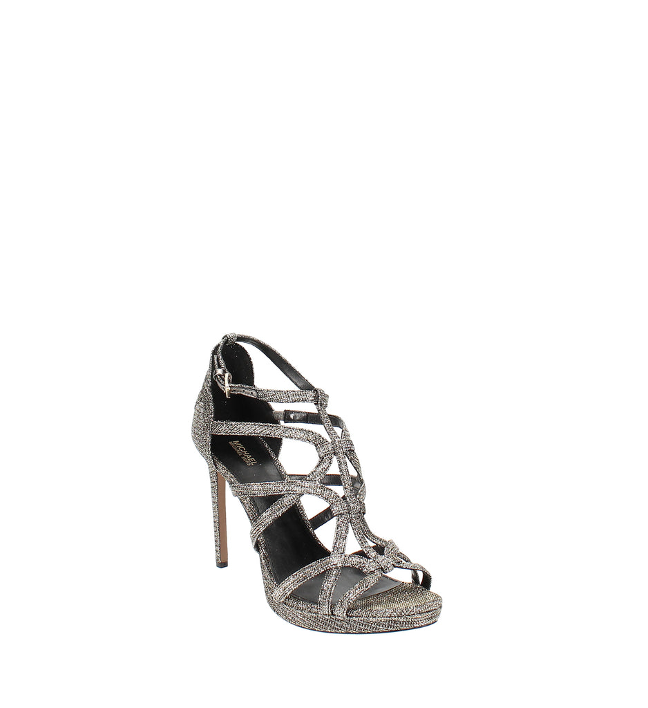 Yieldings Discount Shoes Store's Sandra Platform Caged Dress Sandals by MICHAEL Michael Kors in Black/Gold
