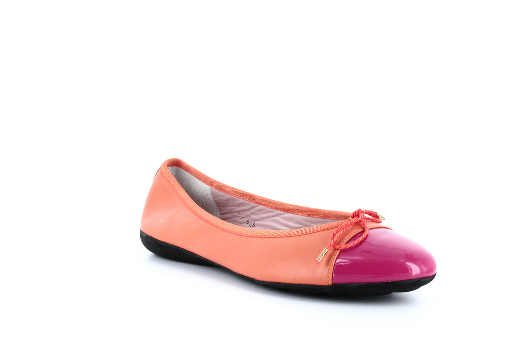 Yieldings Discount Shoes Store's Bravo Brighton Leather Ballet Flats by Paul Mayer Attitudes in Fuxia/Orange