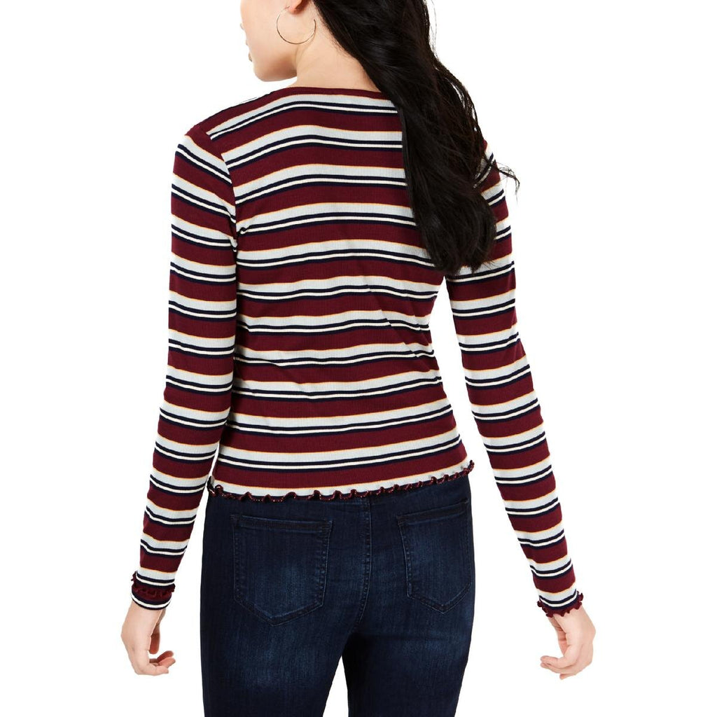 Yieldings Discount Clothing Store's Juniors' Square-Neck Striped Top by Freshman in Zinfandel Combo
