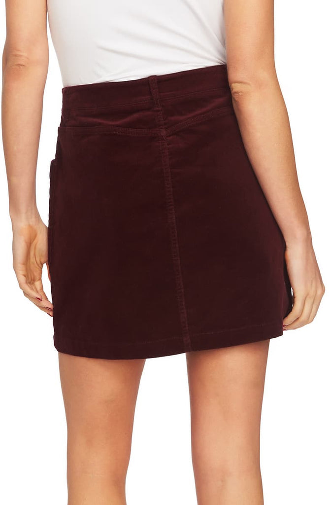 Yieldings Discount Clothing Store's Corduroy Zip-Front Mini Skirt by 1.State in Deep Claret