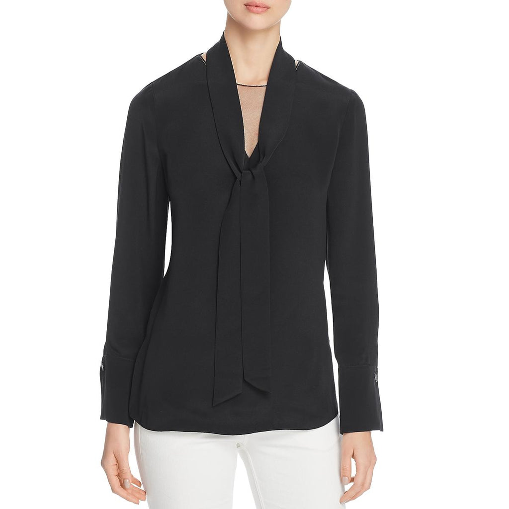 Yieldings Discount Clothing Store's Perry Silk Neck-Tie Blouse by Kobi Halperin in Black