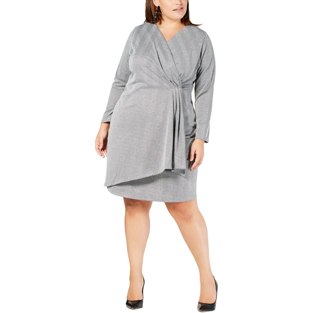 Yieldings Discount Clothing Store's Plus Size Faux-Wrap Dress by NY Collection in Silver