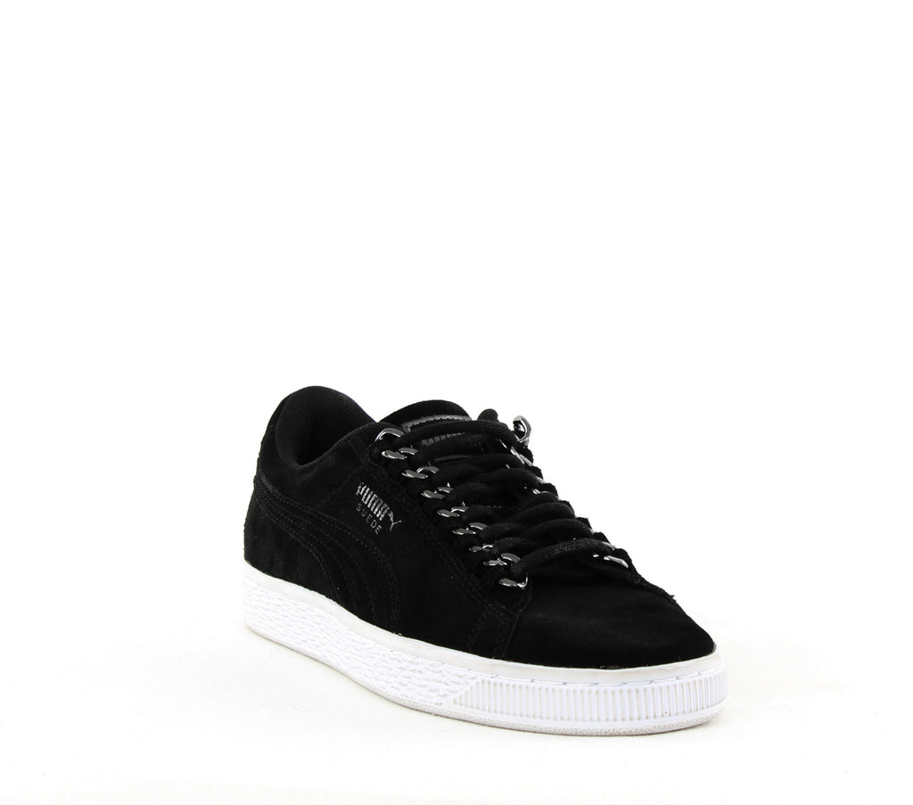 Yieldings Discount Shoes Store's Suede Classic x Chain Sneakers by Puma in Black/Aged Silver
