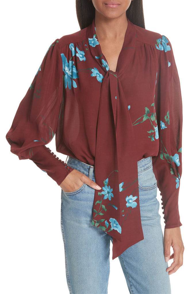 Yieldings Discount Clothing Store's Angeletta Tie-Neck Silk Top by Joie in Cambridge Red