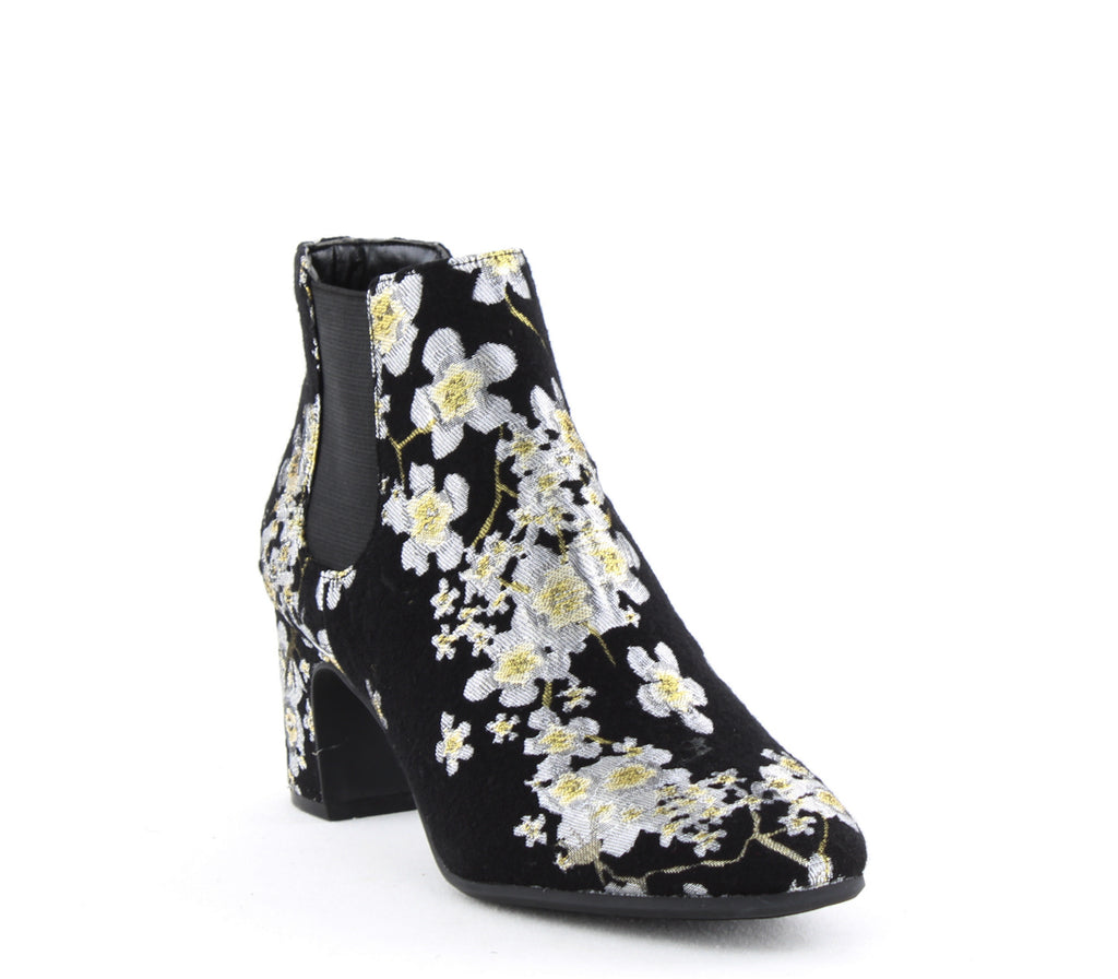 Yieldings Discount Shoes Store's Gorgia Embroidered Ankle Booties by Anne Klein in Black Fabric