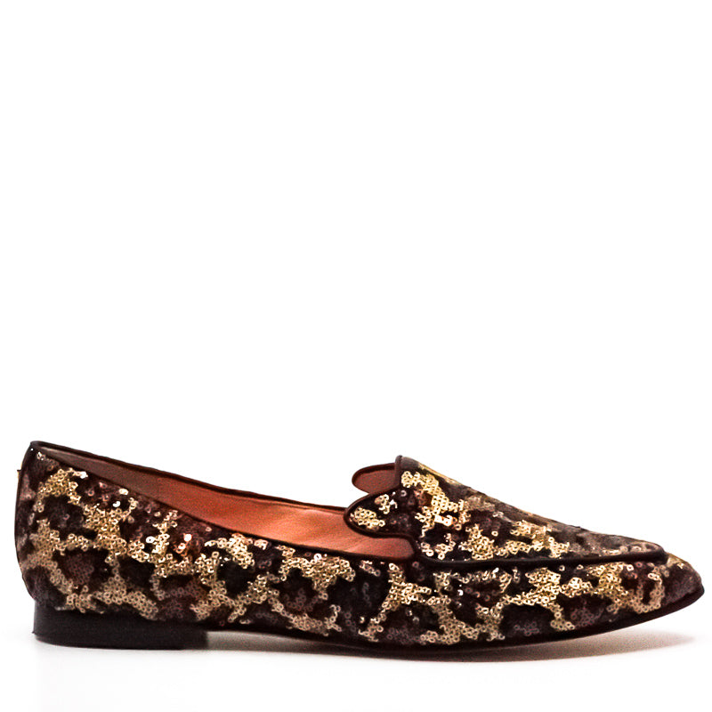 Yieldings Discount Shoes Store's Caty Cape Black Sequin Loafers by Kate Spade in Leopard