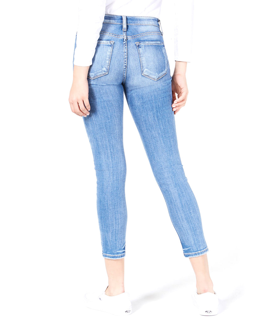 Yieldings Discount Clothing Store's Ripped Cropped Jeans by Flying Monkey in Blue Leaf
