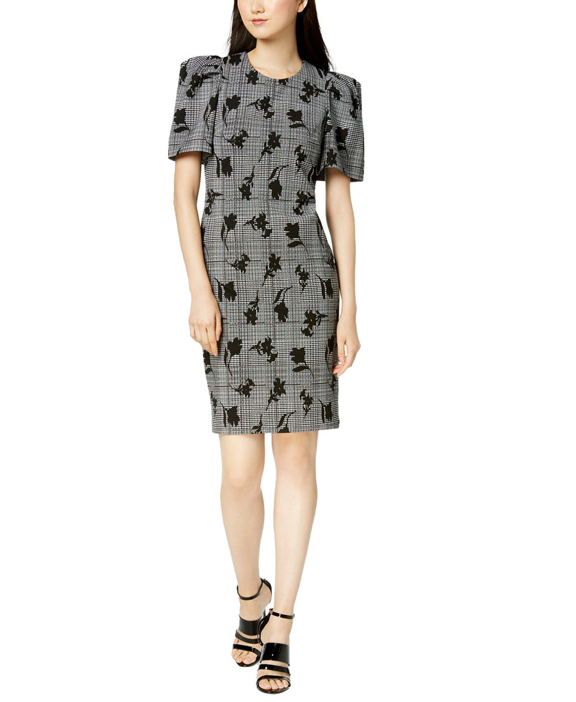 Yieldings Discount Clothing Store's Puff-Sleeve Printed Sheath Dress by Calvin Klein in Black/Cream