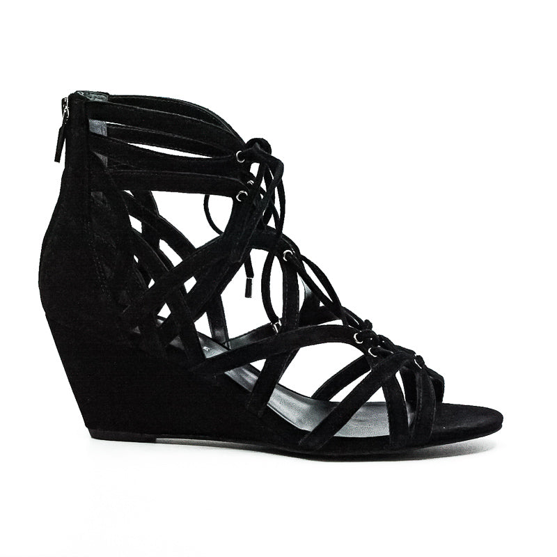 Yieldings Discount Shoes Store's Dylan Wedge Sandals by Kenneth Cole in Black