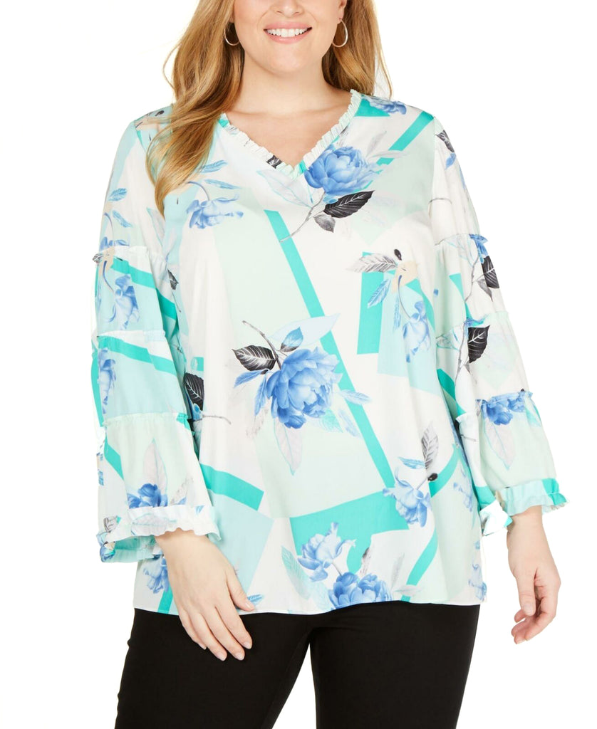 Yieldings Discount Clothing Store's Printed Ruffle-Trim Blouse by Alfani in Turquoise Floral Arc