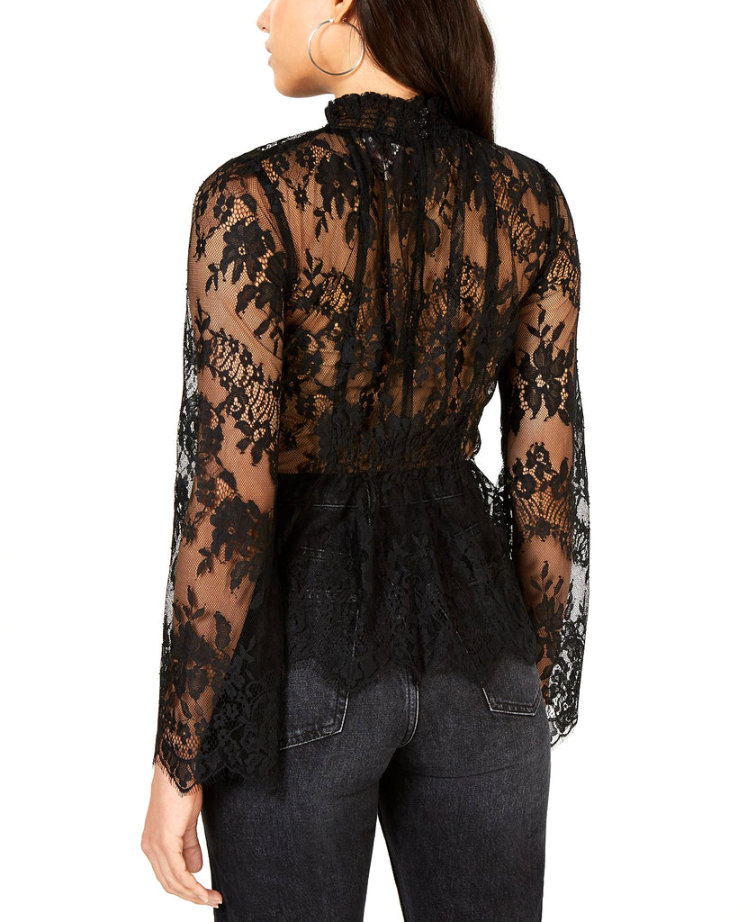 Yieldings Discount Clothing Store's Sheer Lace Mock-Neck Top by Leyden in Black Lace