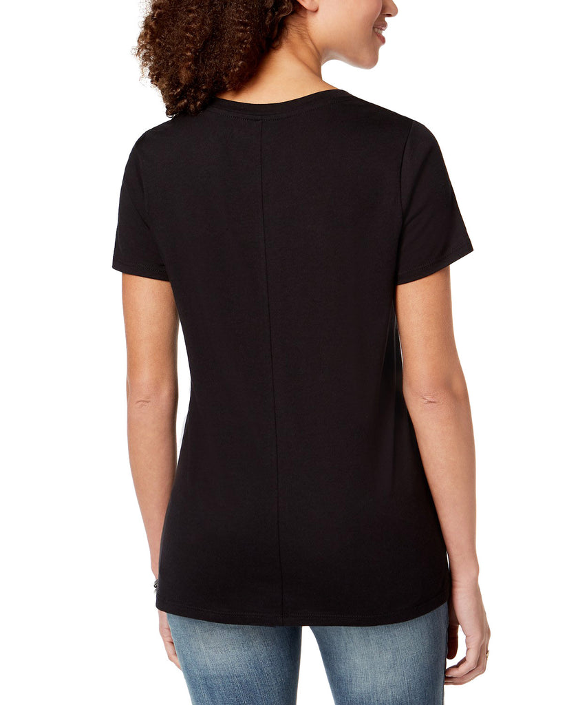 Yieldings Discount Clothing Store's Snakes Embroidered V Neck T-Shirt by Carbon Copy in Black