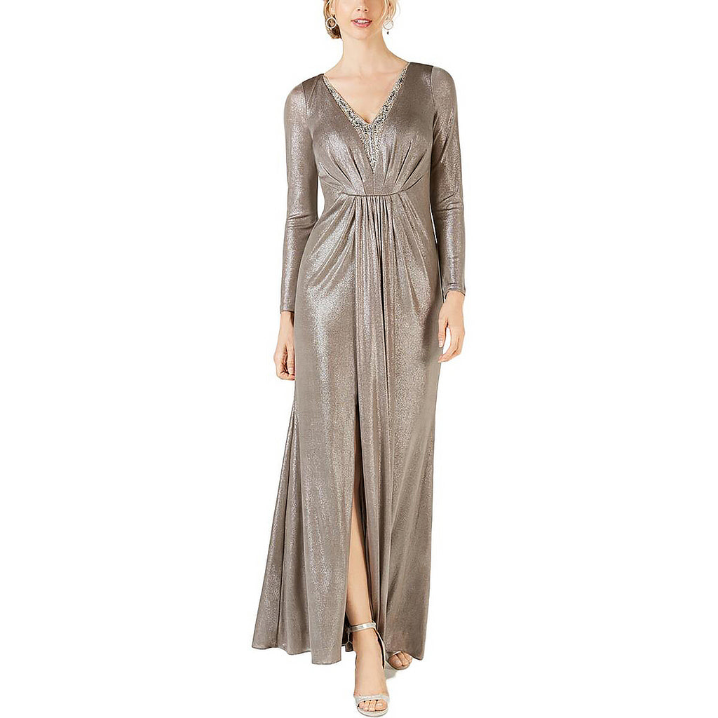 Yieldings Discount Clothing Store's Foiled Jersey Dress by Adrianna Papell in Silver