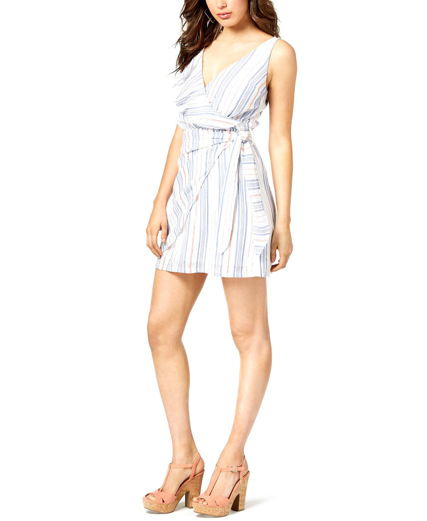 Yieldings Discount Clothing Store's Laguna Flounce Wrap Dress by Guess in Bleached Blue Multi