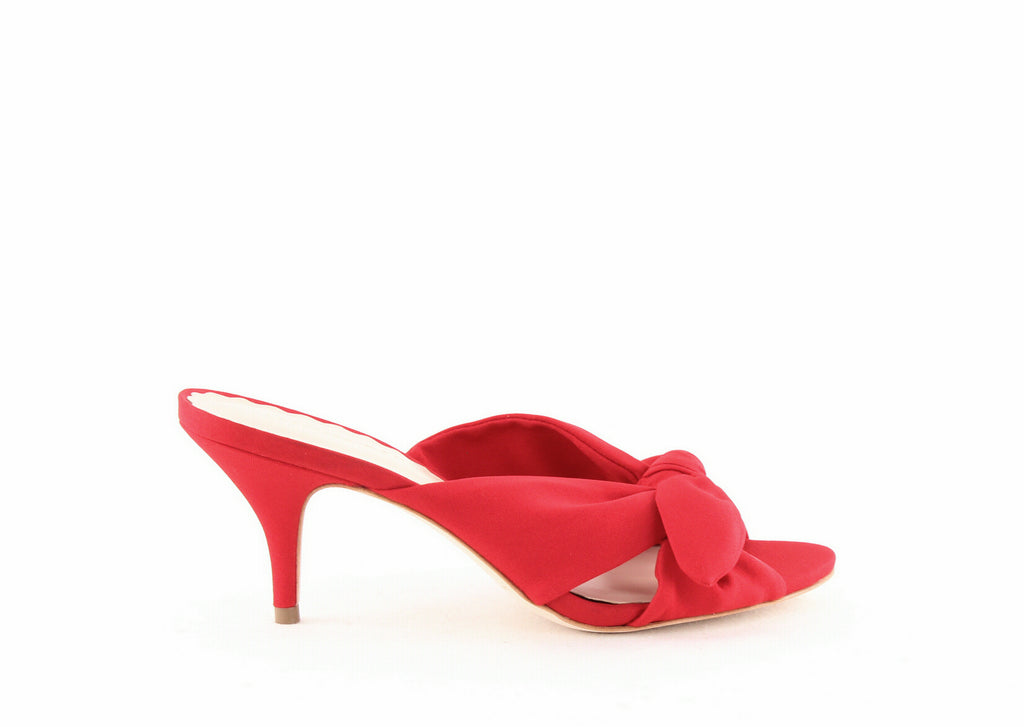 Yieldings Discount Shoes Store's Luisa Kitten Heel Sandals by Loeffler Randall in Bright Red