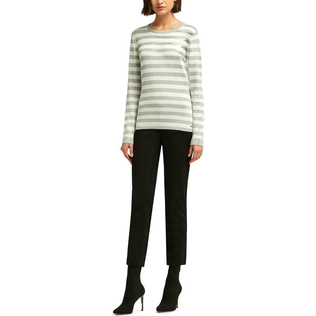 Yieldings Discount Clothing Store's Embellished Striped Sweater by DKNY in Silver