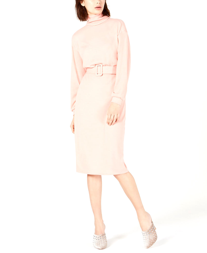 Yieldings Discount Clothing Store's Natasha Belted Sweater Dress by Leyden in Dusty Coral