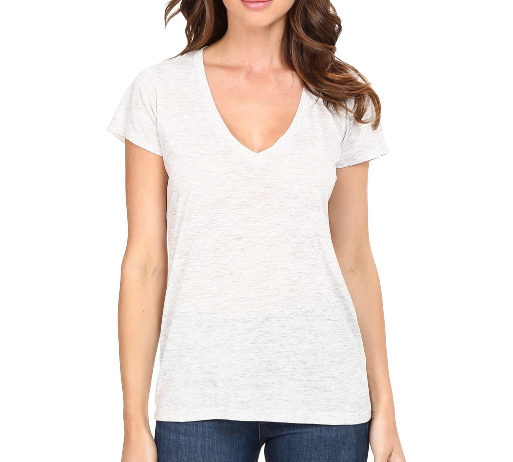 Yieldings Discount Clothing Store's Melange Burnout Slinky V-Neck T-Shirt by Alternative in Oatmeal Heather