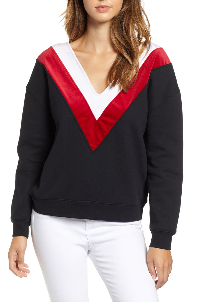 Yieldings Discount Clothing Store's V-Neck Chevron Sweatshirt by Kendall + Kylie in Black