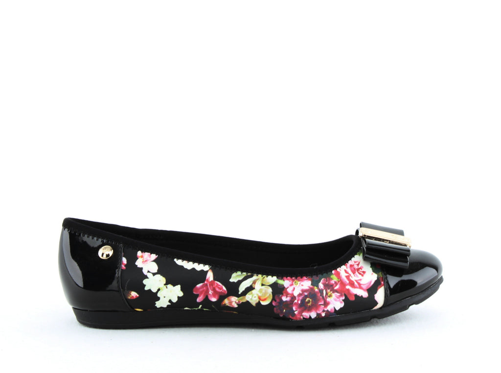 Yieldings Discount Shoes Store's Aricia Floral Ballet Flats by Anne Klein Sport in Black Multi
