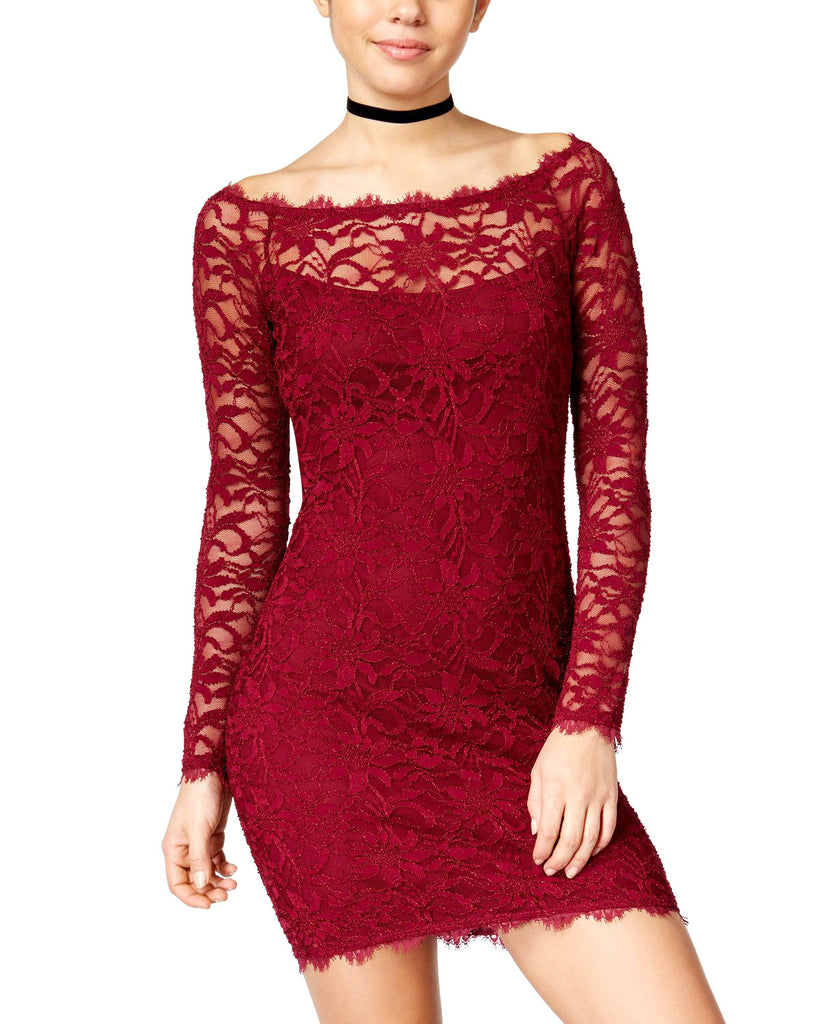 Yieldings Discount Clothing Store's Lace Sheath Dress by Jump in Dark Red