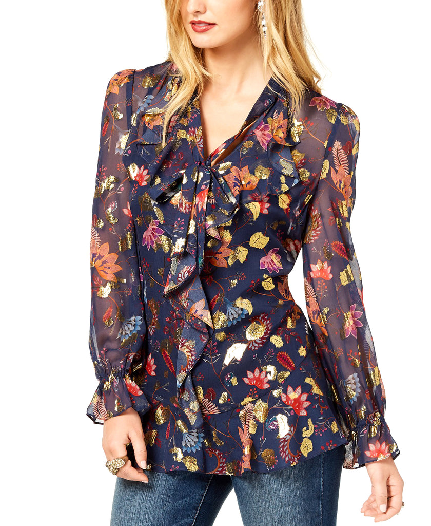 Rachel Zoe | Ruffled Metallic-Print Blouse