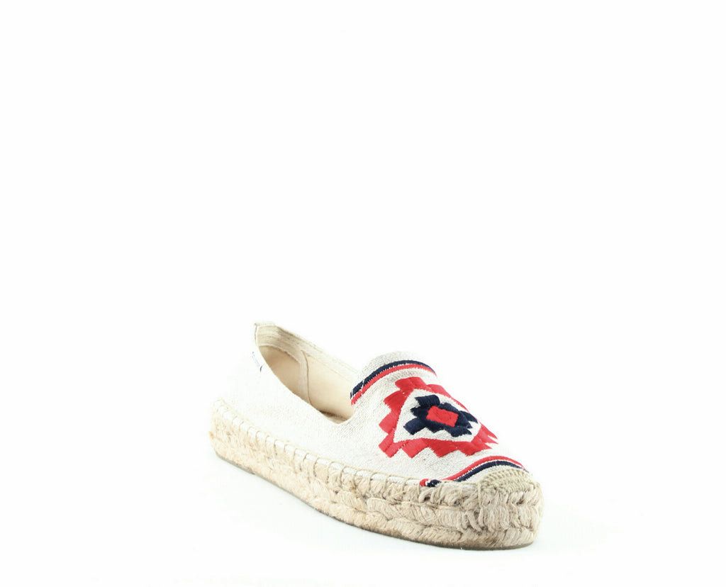 Yieldings Discount Shoes Store's Embroidered Platform Smoking Slippers by Soludos in Sand