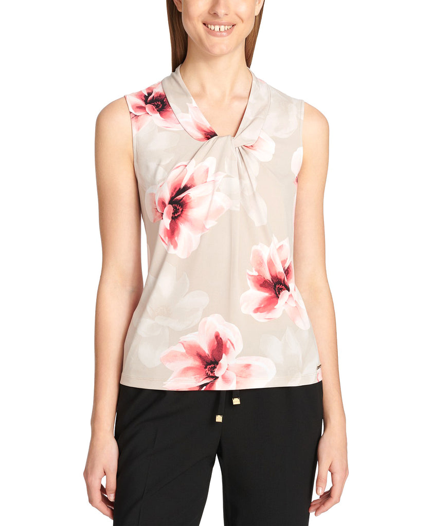 Yieldings Discount Clothing Store's Twisted Floral-Print Top by Calvin Klein in Khaki Multi