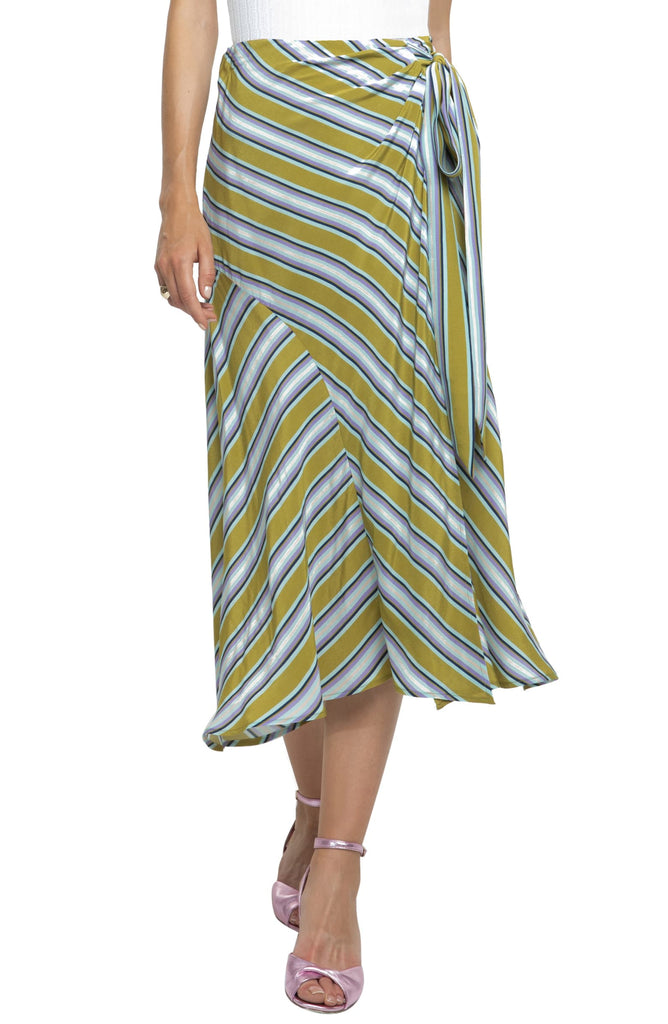 Yieldings Discount Clothing Store's Teagan Striped Midi Skirt by ASTR in Moss Multi Stripe