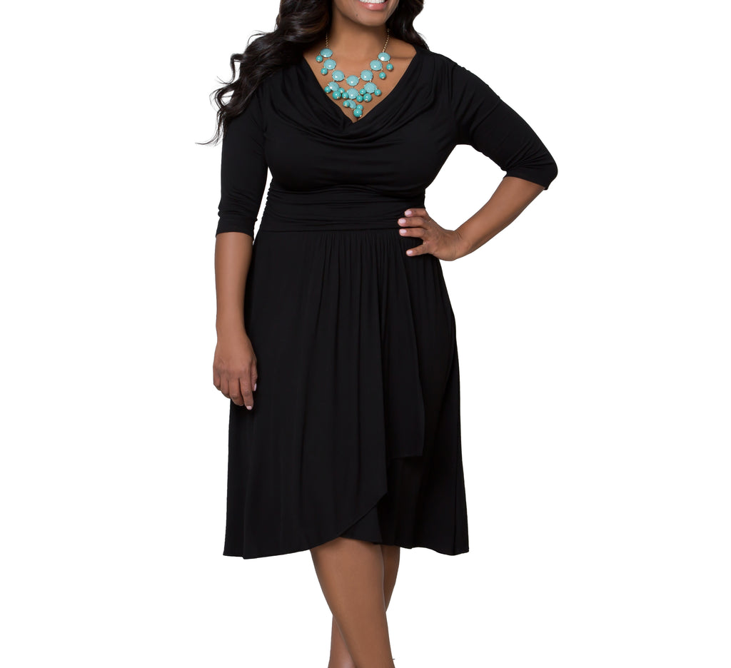 Yieldings Discount Clothing Store's Draped in Class Dress by Kiyonna in Black