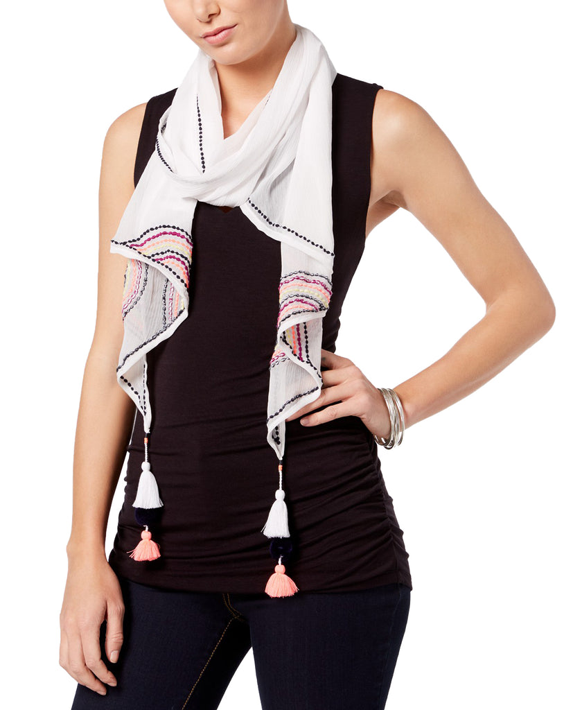 Yieldings Discount Accessories Store's Embroidered Tassel Scarf by INC in White