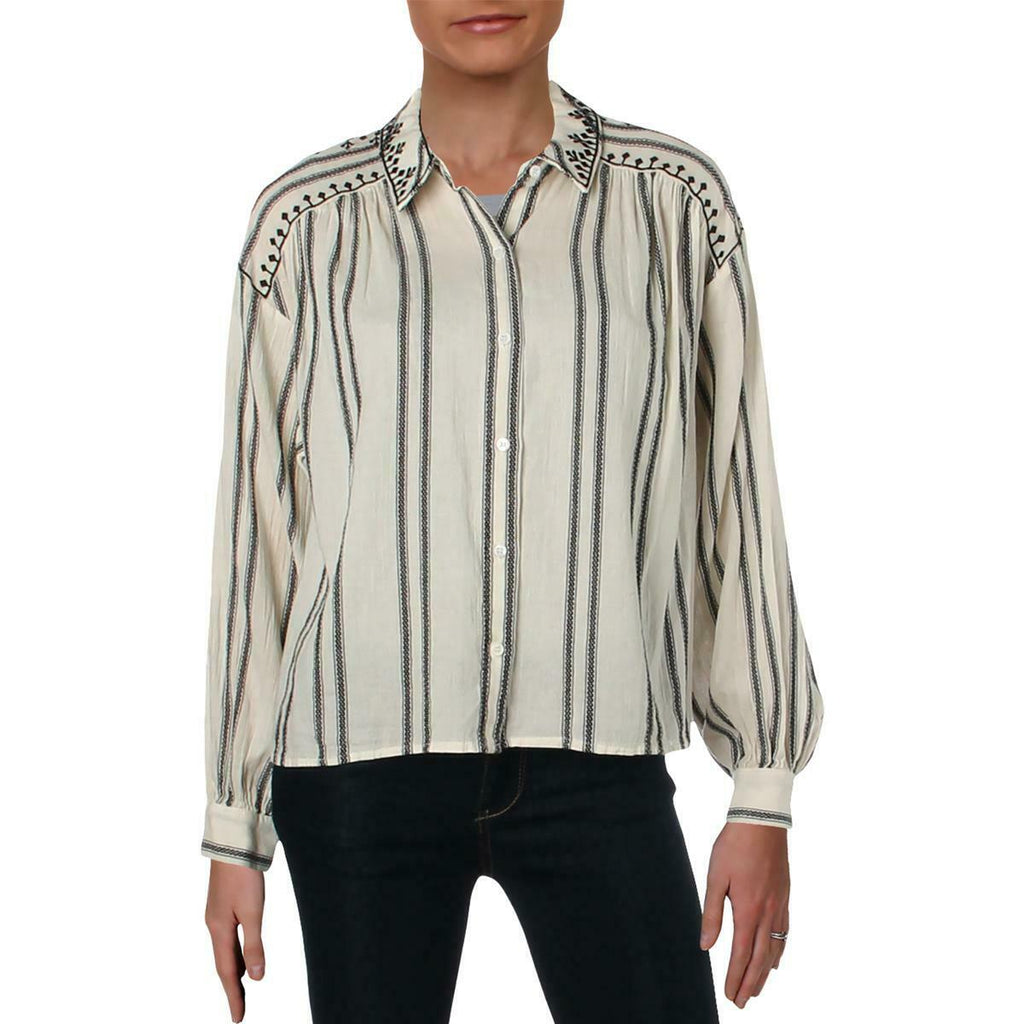 Yieldings Discount Clothing Store's Embroidered Long Sleeves Button-Down Top by Vince Camuto in Antique White