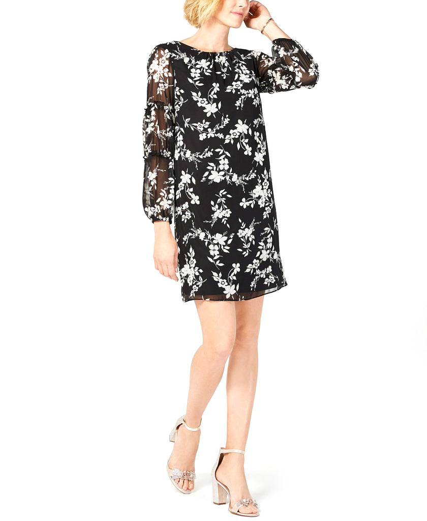 Yieldings Discount Clothing Store's Petite Floral-Printed Balloon-Sleeve Dress by Jessica Howard in Black/Ivory