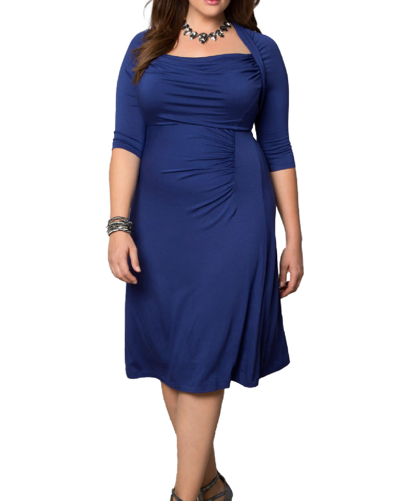 Yieldings Discount Clothing Store's Stella Dress by Kiyonna in Blue
