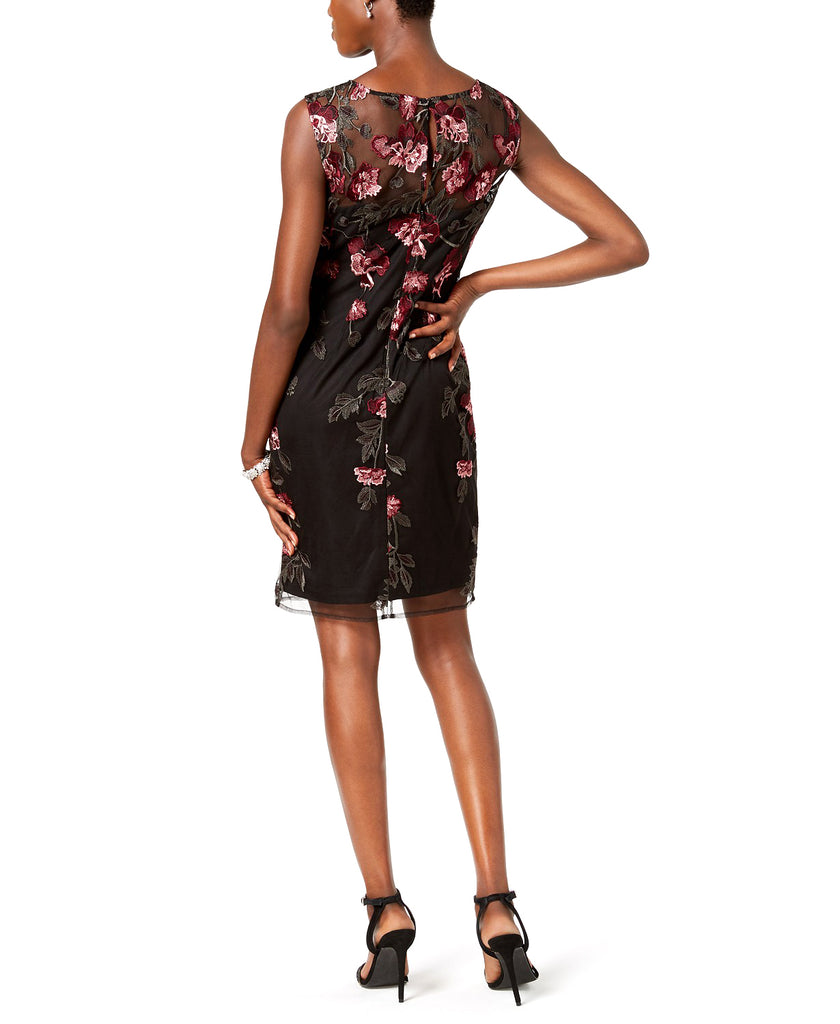 Yieldings Discount Clothing Store's Floral Embroidered Sleeveless Mini Dress by Adrianna Papell in Black