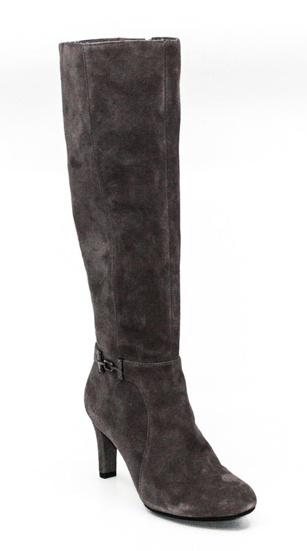 Yieldings Discount Shoes Store's Lamari Heel Boots by Bandolino in Dark Grey