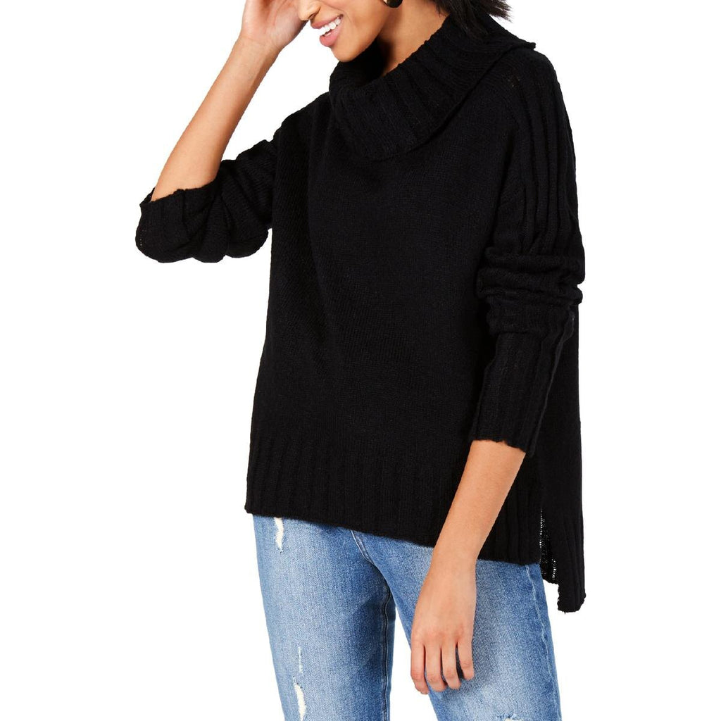 Yieldings Discount Clothing Store's Hi-Low Ribbed Turtleneck Sweater by Hooked Up by IOT in Black