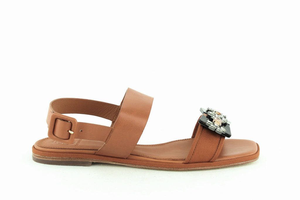 Yieldings Discount Shoes Store's Delaney Embellished Leather Sandals by Tory Burch in Tan