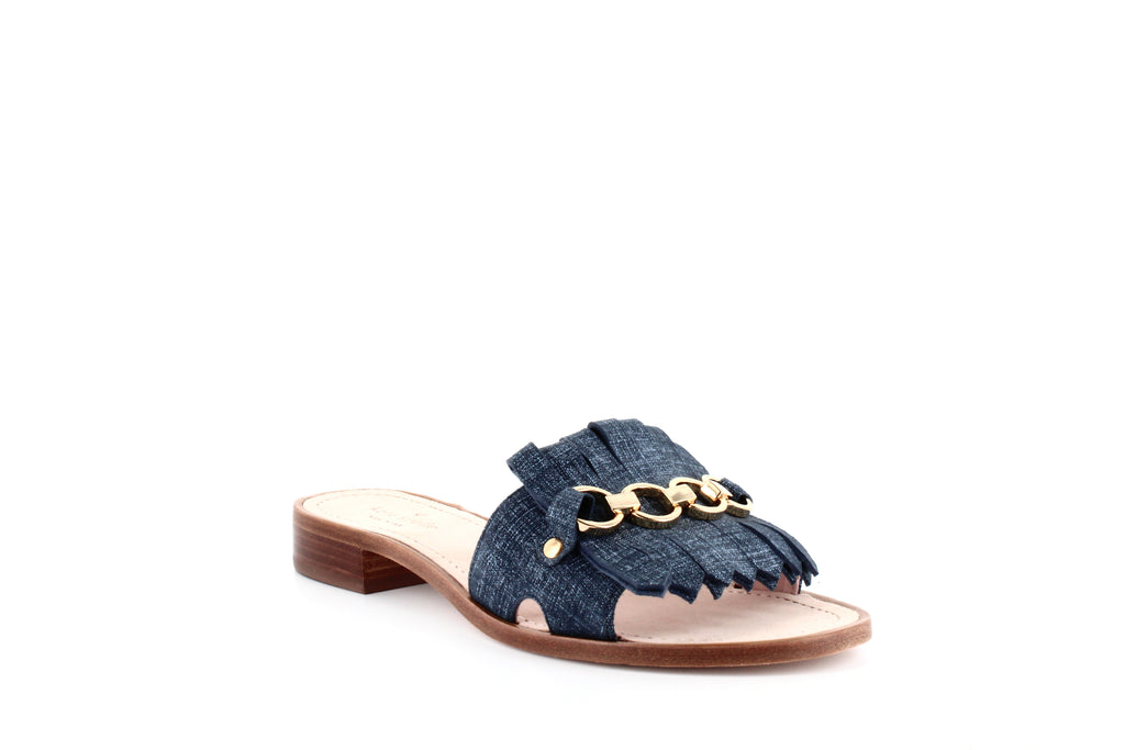 Yieldings Discount Shoes Store's Brie Slide Sandals by Kate Spade in Blue Denim