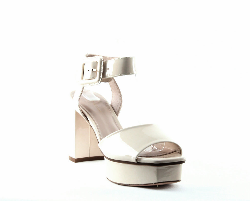 Yieldings Discount Shoes Store's Newdeal Leather Platform Sandals by Stuart Weitzman in Shell