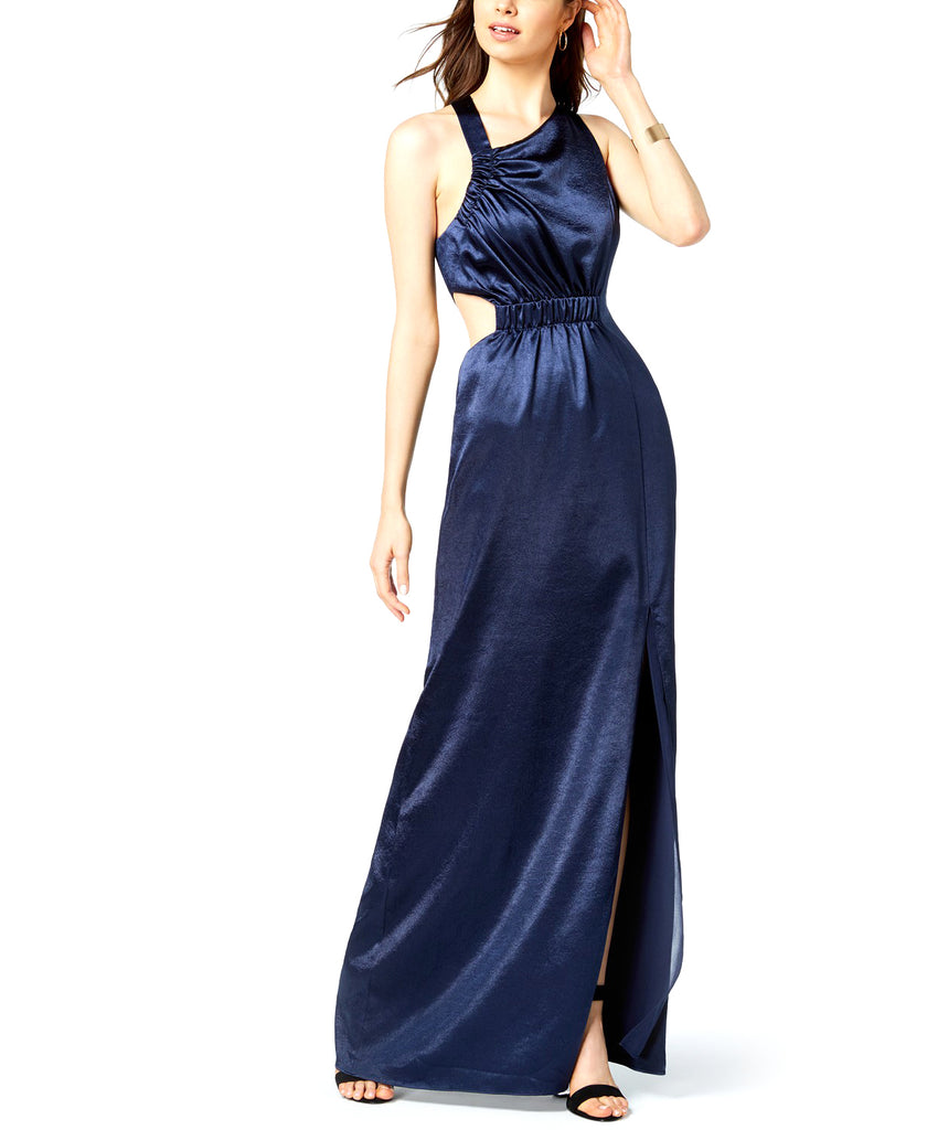 Yieldings Discount Clothing Store's Cutout Asymmetrical Maxi Dress by Avec Les Filles in Navy