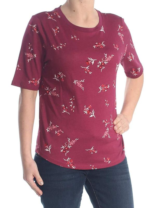 Yieldings Discount Clothing Store's Printed Short Sleeve Jewel Neck Top by Ralph Lauren in Maroon