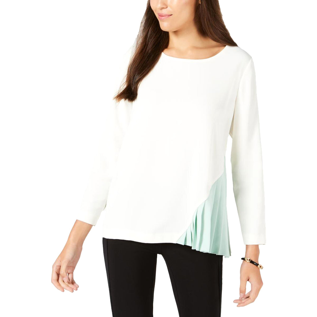 Yieldings Discount Clothing Store's Pleated Colorblock Blouse by Alfani in Cloud