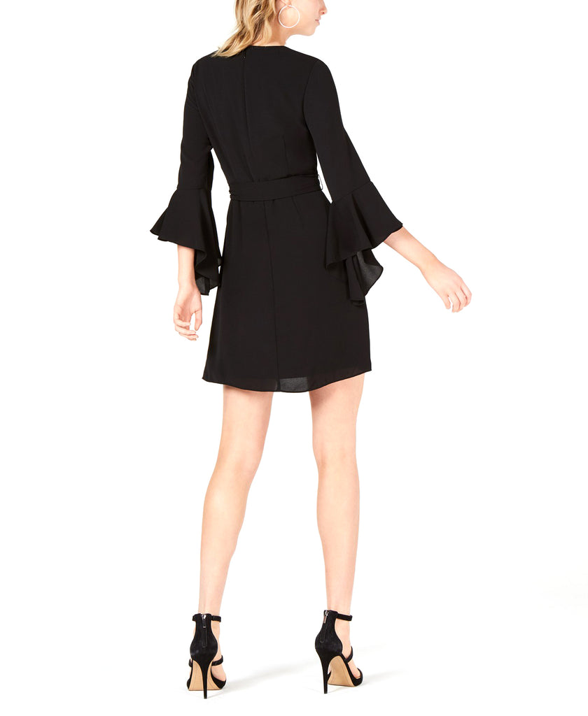 Yieldings Discount Clothing Store's Tiered-Sleeve Faux-Wrap Dress by Bar III in Deep Black
